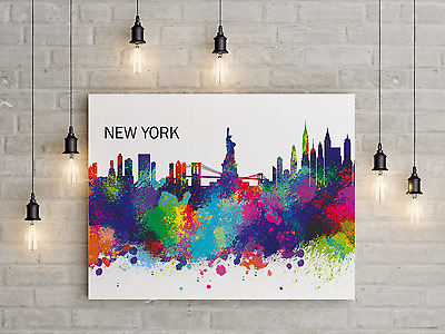 Leinwand 100 x 150 cm, New York Skyline, abstrakt, farb-splashes