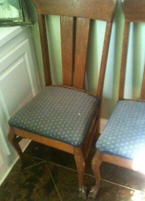 Antique Rare T-Back Oak Chairs With Claw Feet