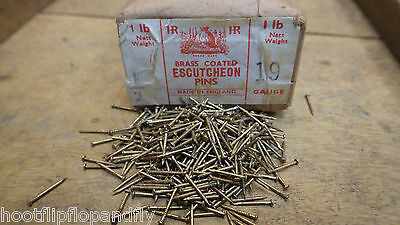 """25g 1/2"""" 13mm BRASS COATED ESCUTCHEON PINS DOLL HOUSE ART MADE IN ENGLAND"""