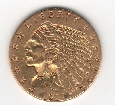 1911 $2 1/2 Us Quarter Eagle Gold Indian Head Coin - Free Shipping