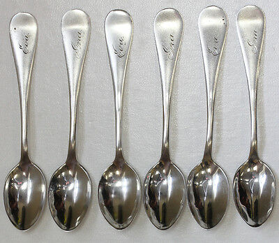 Rare Antique Set Of (6) Sterling Silver Demitasse Spoons - Oxford Hall