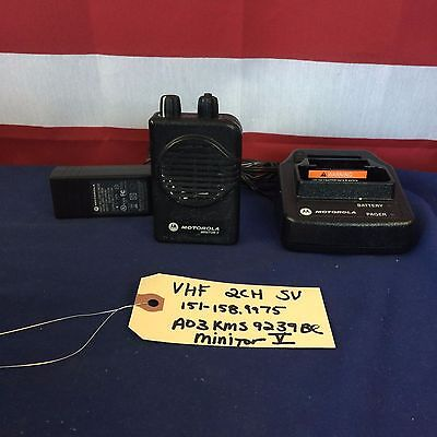 Motorola Minitor V (5) VHF 151-158.9975 MHz 2CH Stored Voice Pager w/Chrgr