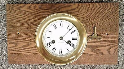 Antique Waterbury Brass Ships Bell Clock No. 1 Porcelain Dial