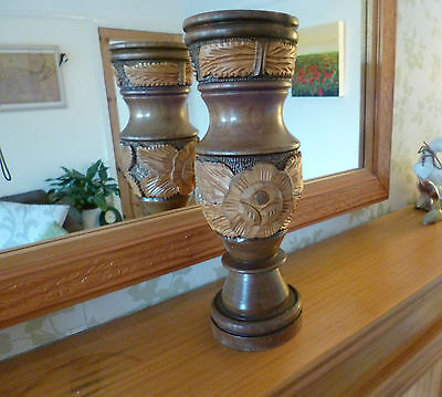 Fantastic Vintage/Antique Hand Carved Wooden Vase-Heavy and Tall
