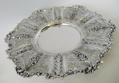 925 Sterling Silver Handcrafted Leaf Appliques Round Ornate Tray Ec-555-P32