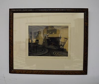 """Original WALLACE NUTTING Signed Colored Photo Art Print - Framed - 15"""" x 12"""""""