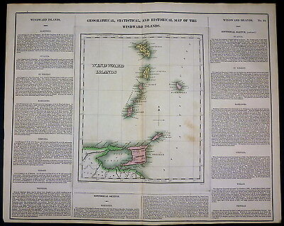 "RARE Carey & Lea 1822/1823 hand colored MAP of the Windward Islands18""x24"""