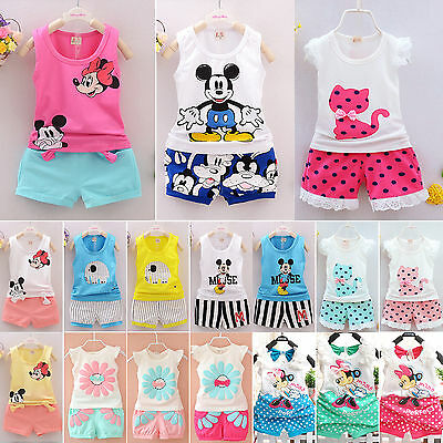 Summer Baby Girls Infant Vest Top Shorts Pants 2pcs Kids Clothing Outfits Sets