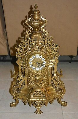 Vintage Brass Mantle Clock w/ FHS Franz Hermele Movement #130-070 Germany 1983
