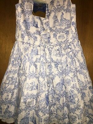 Beauty And The Beast Blue Toile Girls MEDIUM M SIZE 7/8 Dress Target NWT Durran