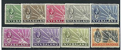 Weeda Nyasaland 38-46 MH 1934-35 KGV Leopard set of 9, attractive CV $47.25
