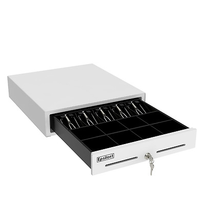 Epsilont Cash Drawer Compatible w/ Square POS Printer, White Powder-Coated Steel