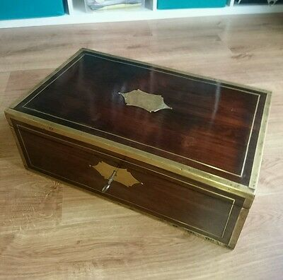 Antique Campaign Writing Slope rosewood box brass regency secret drawers