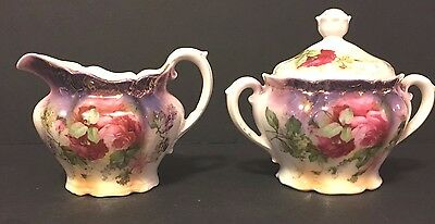 Antique Bavarian Style Hand Painted  Sugar/creamer Floral Pink Roses