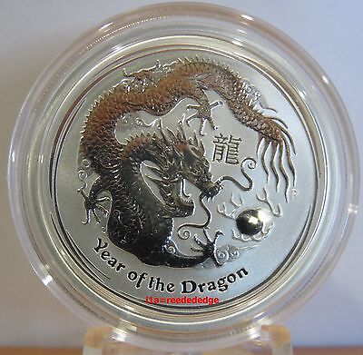 2012 1/2 oz Silver Australian Lunar Year of the Dragon Coin - mintage 389,161
