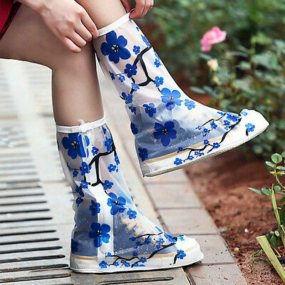 Women's Fashion Rain Shoes Cover Anti-Slip Shoe Covers PVC Overshoes Reusable