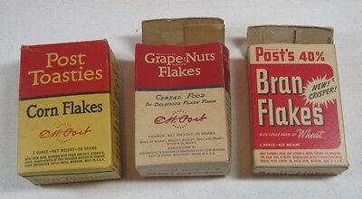 3 Vintage One Ounce Post Cereal Boxes Mini Post Toasties Grape Nuts Bran Flakes