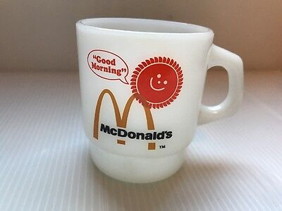 Fire King Anchor Hocking Coffee Cup Mug McDonalds Good Morning Vintage 1980's