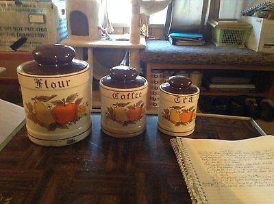 Vintage flower coffee tea ceramic canister set