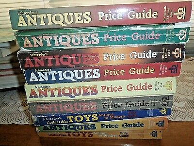 Schroeder's Antiques Price Guide & Toys Lot of 9 Soft Cover ID's/Values 1989-Up