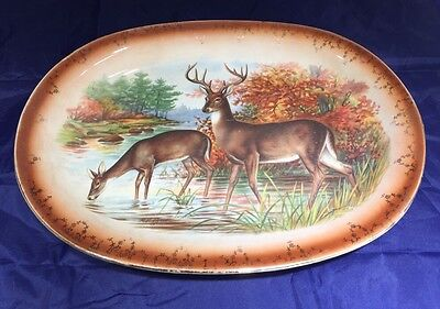 Antique Large Signed RK Beck Porcelain Transferware Deer Antler Platter 13.5""