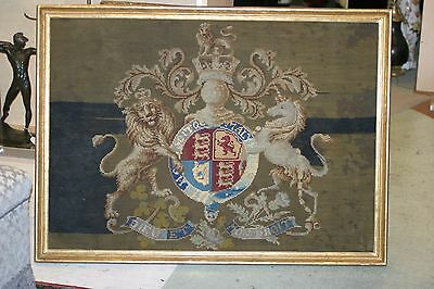 Huge Needle Point Tapestry, Royal Coat Of Arms Of The Monarch U K Henry V 19C