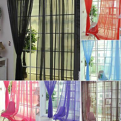 WOW Sheer Voile Window Curtains/Drape/Panel/treatment or Scarf Assorted Solid