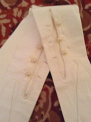 "Vintage Ivory 23"" Long Leather Opera Gloves size 6.5 Evening Formal Wedding"