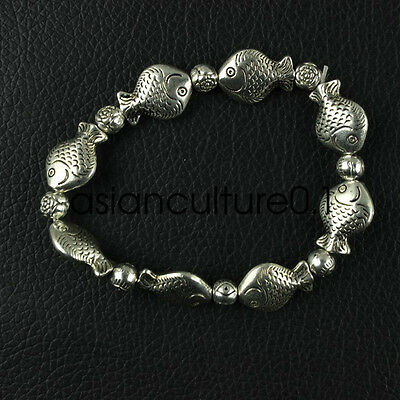 Chinese Tibet silver carved Fish statue head talisman elastic bracelet LMW71