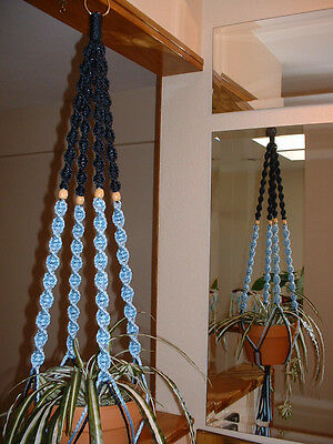 Macrame Plant Hanger NAVY and SKY BLUE 4 TAN BEADS