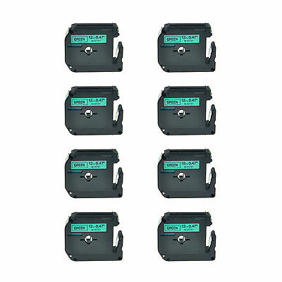 "8PK 1/2"" Black on Green Lable Tape MK731 M-K731 M731 For Brother P-touch 110 55S"