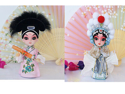 2Pcs 6'' Peking Opera Doll Mini Q Version Figurine -Xu Xian and White Snake Lady