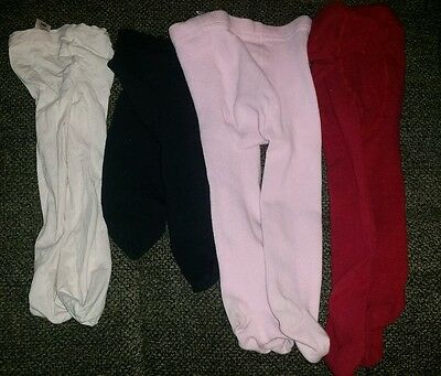 lOT OF 4 GIRLS TIGHTS NYLON AND COTTON PINK BLACK RED 6 12 MONTH