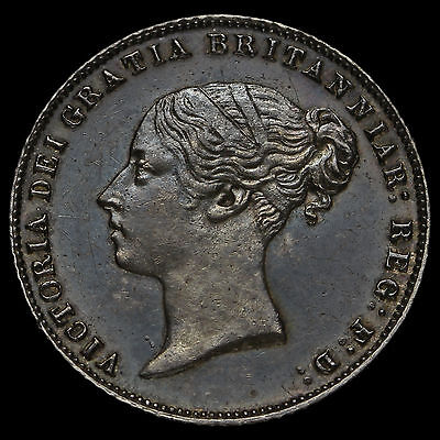 1866 Queen Victoria Young Head Silver Sixpence, A/UNC
