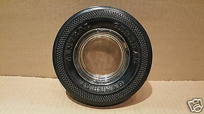 Vintage GENERAL Tire Advertising Tire Ashtray - Glass Insert w/Rubber Tire #19