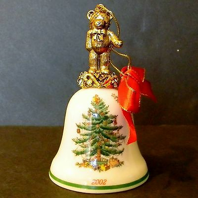 Spode 2002 Annual China Bell Ornament Brass Tone Teddy Bear w/ Box Macy's NIB