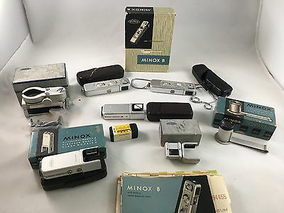 Vintage Minox B Subminiature Camera Lot Of 2 Plus Boxed Accessories! Must See