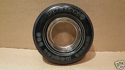 Vintage FIRESTONE Tire Advertising Tire Ashtray - Glass Insert w/Rubber Tire #24