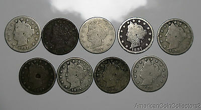 """Collection of (9) 1887 """"V"""" Nickels   Take a Look No Reserve Auction   6935"""