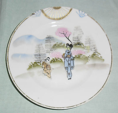Antique Meiji Taisho Period Signed Plate  :  Geisha Rural Scene