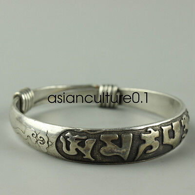 Old Hand-carved Tibet Tibetan silver bracelet Peace LMQQ75