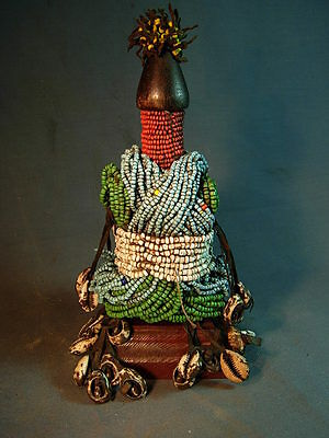 Finely Decorated Ham Pilu Doll on Wood Base, Cameroon