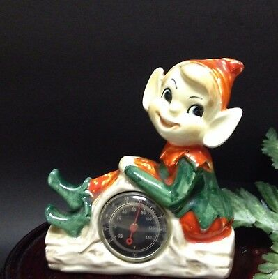 Vintage Collectable- Hand Painted Porcelain Pixie Elf Thermometer Ornament