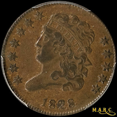 1828 AU53 PCGS 1/2C Classic Head Half Cent, The rare 12-star Variety!! F/S, MARC
