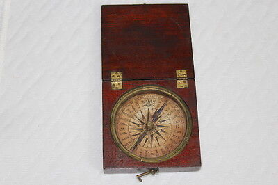 Vintage 30 Point Compass in Wooden Box