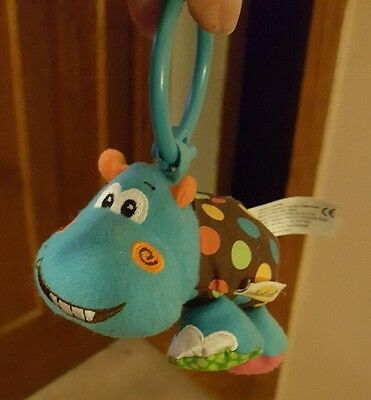 Infantino Baby Plush blue Hippo Doll Rattle  Toy Doll Lovey