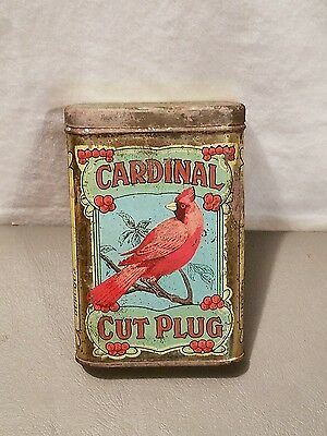 Rare Cardinal Cut Plug Tobacco Vertical Pocket Tin Tobacciana Advertising