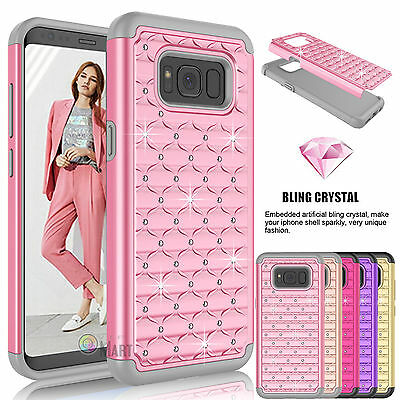 Samsung Galaxy S8+ Plus / S8 Diamond Bling Hybrid Rubber Protective Case Cover