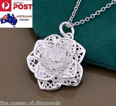 925 Sterling Silver FLOWER ROSE Pendant Necklace Link Chain Women Jewelry Gift