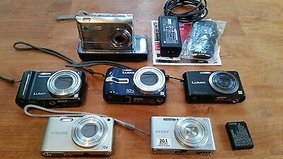 LOT OF 6 Digital Cameras Panasonic Lumix, Sony, HP, & Samsung UNTESTED!